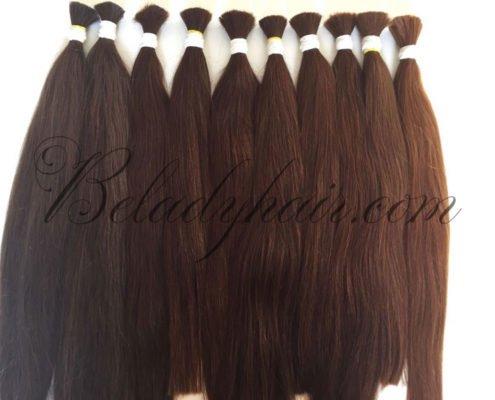 24 inches straight bulk hair in brown