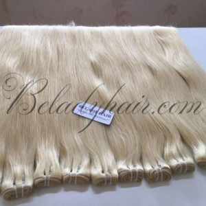 Straight blonde weft hair