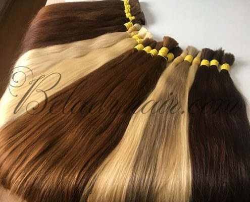 Many color straight bulk hair